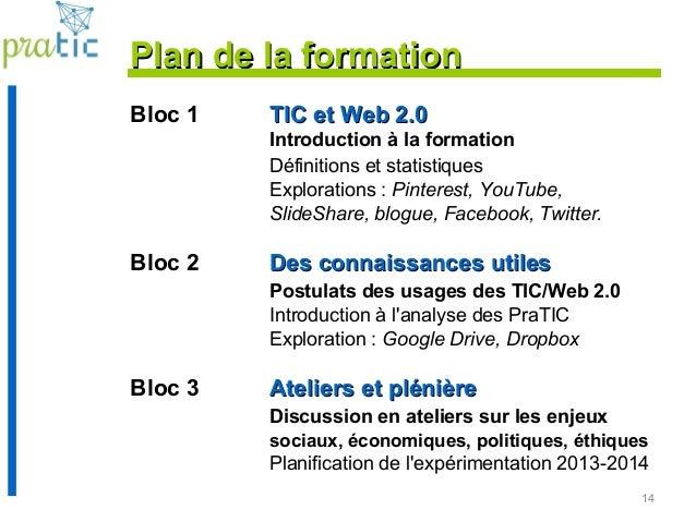 14 Plan de la formationPlan de la formation Bloc 1 TIC et Web 2.0TIC et Web 2.0 Introduction à la formation Définitions et...