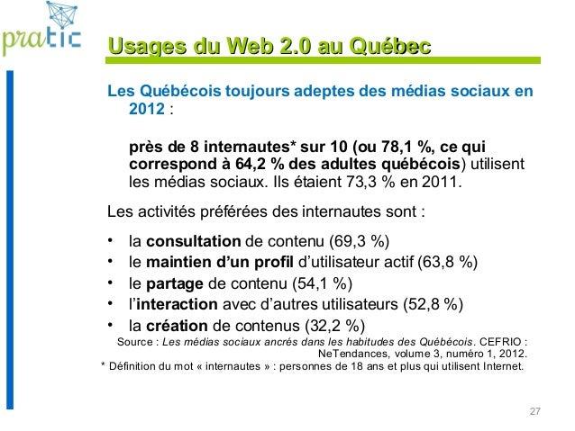 27 Usages du Web 2.0 au QuébecUsages du Web 2.0 au Québec Les Québécois toujours adeptes des médias sociaux en 2012 : près...