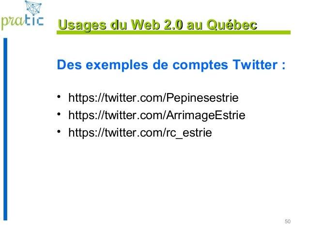 Des exemples de comptes Twitter : • https://twitter.com/Pepinesestrie • https://twitter.com/ArrimageEstrie • https://twitt...