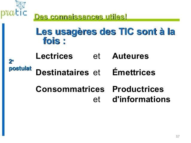 57 Les usagères des TIC sont à laLes usagères des TIC sont à la fois :fois : Lectrices et Auteures Destinataires et Émettr...