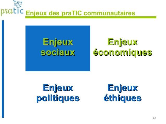 93 Enjeux des praTIC communautaires EnjeuxEnjeux sociauxsociaux EnjeuxEnjeux économiqueséconomiques EnjeuxEnjeux politique...