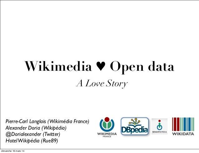 Wikimedia ♥ Open data A Love Story Pierre-Carl Langlais (Wikimédia France) Alexander Doria (Wikipédia) @Dorialexander (Twi...