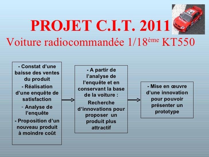 PROJET C.I.T. 2011 Voiture radiocommandée 1/18 ème  KT550 <ul><li>- Constat d'une baisse des ventes du produit </li></ul><...