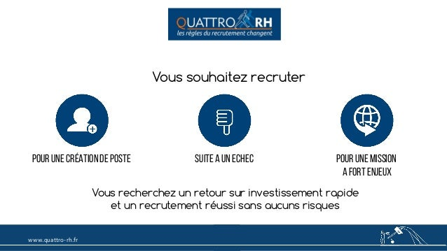 www.quattro-rh.fr Vous souhaitez recruter POUR Une Création de poste POUR DES MISSIONS A FORT ENJEUX Vous recherchez un re...
