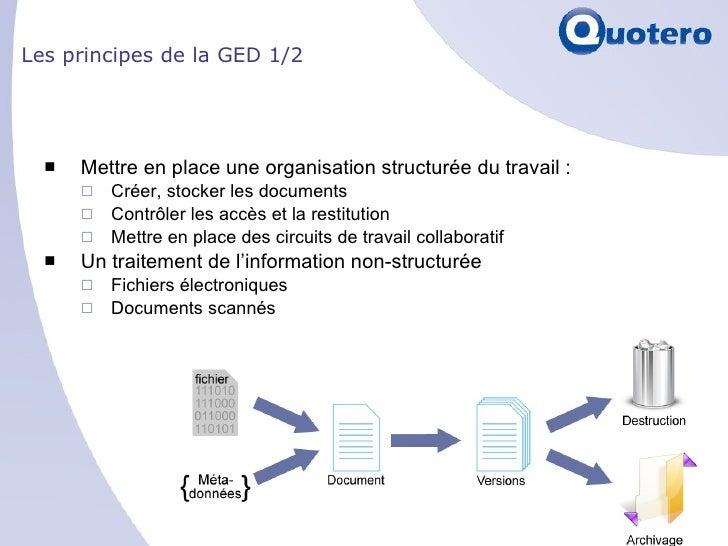 Les principes de la GED 1/2 <ul><li>Mettre en place une organisation structurée du travail :  </li></ul><ul><ul><li>Créer,...