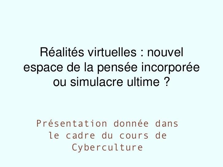 Présentation réalités virtuelles
