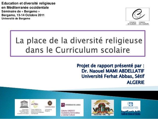 la place de la diversit u00e9 religieuse dans le curriculum scolaire