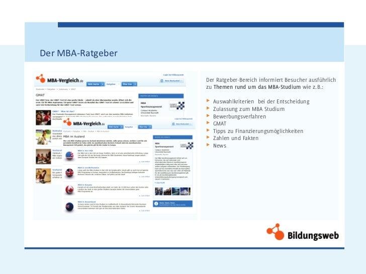 Der MBA-Ratgeber                   Der Ratgeber-Bereich informiert Besucher ausführlich                   zu Themen rund u...