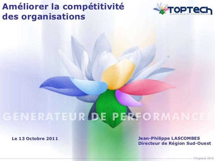 Améliorer la compétitivité des organisations Jean-Philippe LASCOMBES Directeur de Région Sud-Ouest Le 13 Octobre 2011