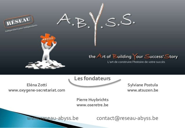 Les fondateurs Eléna Zotti www.oxygene-secretariat.com  Sylviane Postula www.atsuzen.be Pierre Huybrichts www.oseretre.be ...