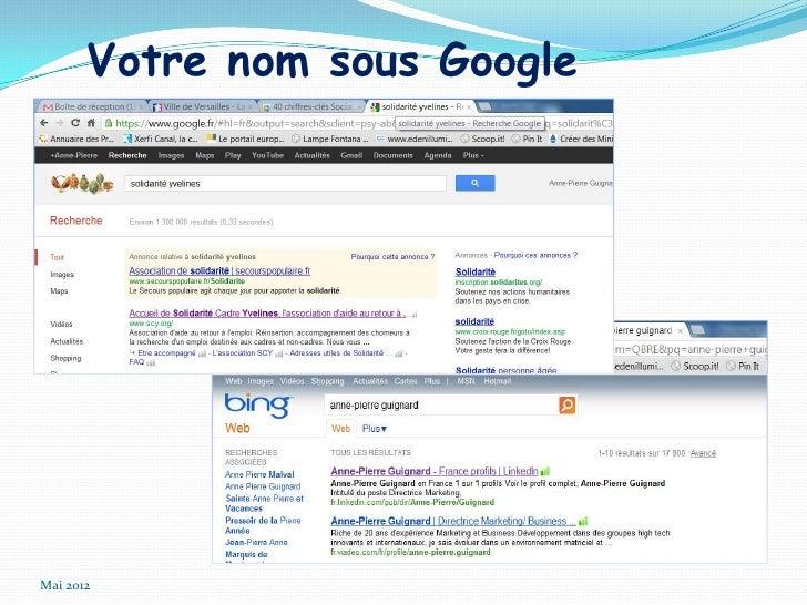 Votre nom sous GoogleMai 2012