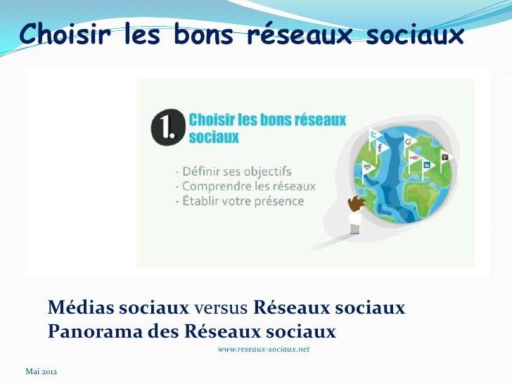 Choisir les bons réseaux sociaux     Médias sociaux versus Réseaux sociaux     Panorama des Réseaux sociaux               ...