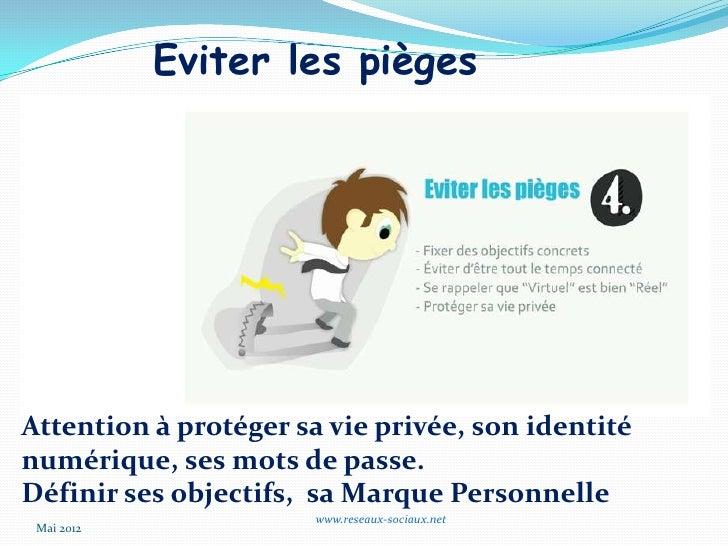 Eviter les piègesAttention à protéger sa vie privée, son identiténumérique, ses mots de passe.Définir ses objectifs, sa Ma...