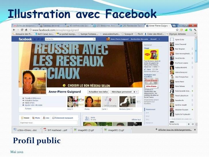 Illustration avec Facebook Profil publicMai 2012