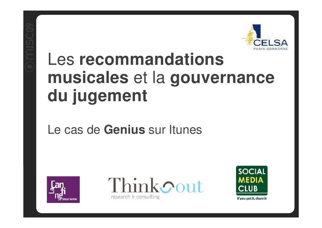 Audit                         Les recommandations Benchmark                          musicales et la gouvernance          ...