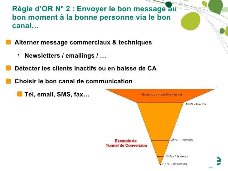 Règle d'OR N° 2 : Envoyer le bon message au bon moment à la bonne personne via le bon canal… <ul><li>Alterner message comm...