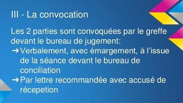 Saisine des prud 39 hommes - Convocation devant le bureau de conciliation ...