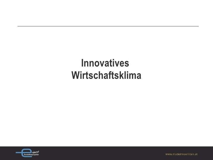 Innovatives  Wirtschaftsklima