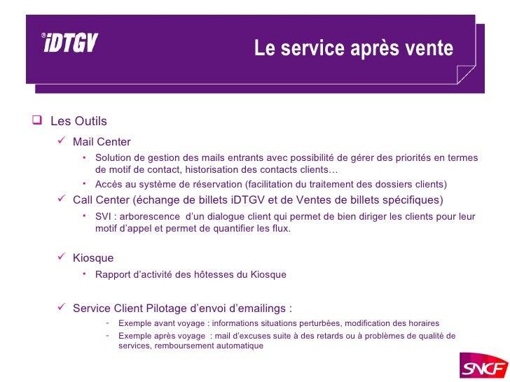 Le service après vente <ul><li>Les Outils </li></ul><ul><ul><li>Mail Center </li></ul></ul><ul><ul><ul><li>Solution de ges...