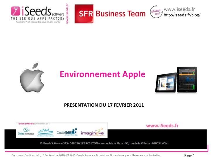 PRESENTATION DU 17 FEVRIER 2011 Environnement Apple Page