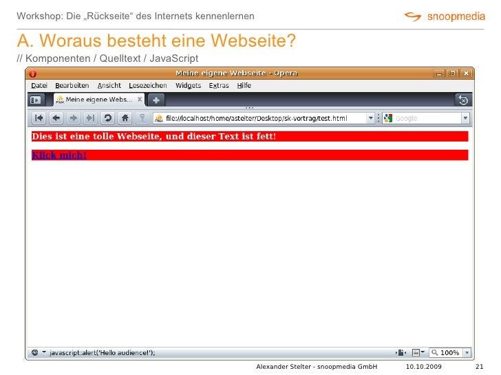 """Workshop: Die """"Rückseite"""" des Internets kennenlernen  A. Woraus besteht eine Webseite? // Komponenten / Quelltext / JavaSc..."""