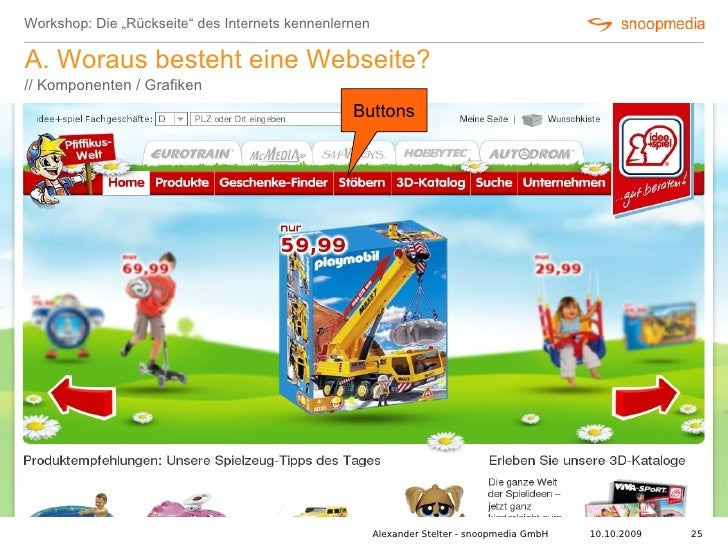 """Workshop: Die """"Rückseite"""" des Internets kennenlernen  A. Woraus besteht eine Webseite? // Komponenten / Grafiken          ..."""