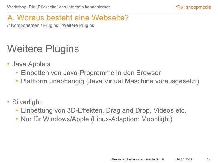 """Workshop: Die """"Rückseite"""" des Internets kennenlernen  A. Woraus besteht eine Webseite? // Komponenten / Plugins / Weitere ..."""