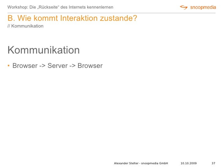 """Workshop: Die """"Rückseite"""" des Internets kennenlernen  B. Wie kommt Interaktion zustande? // Kommunikation     Kommunikatio..."""