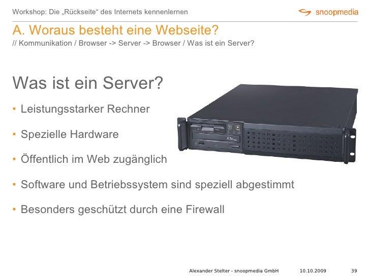 """Workshop: Die """"Rückseite"""" des Internets kennenlernen  A. Woraus besteht eine Webseite? // Kommunikation / Browser -> Serve..."""