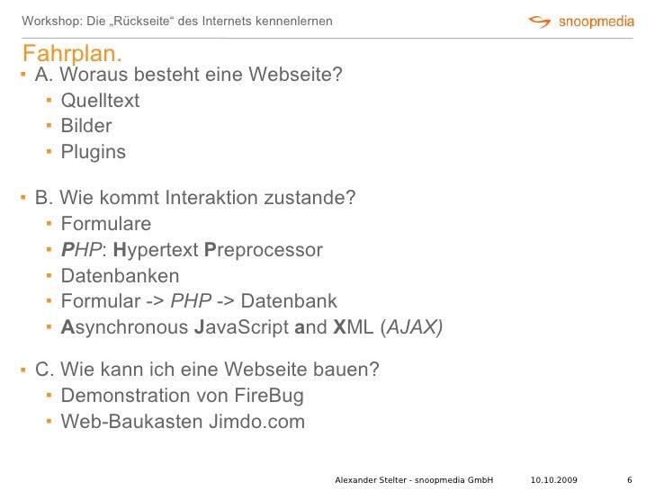 """Workshop: Die """"Rückseite"""" des Internets kennenlernen  Fahrplan.    A. Woraus besteht eine Webseite?       Quelltext     ..."""