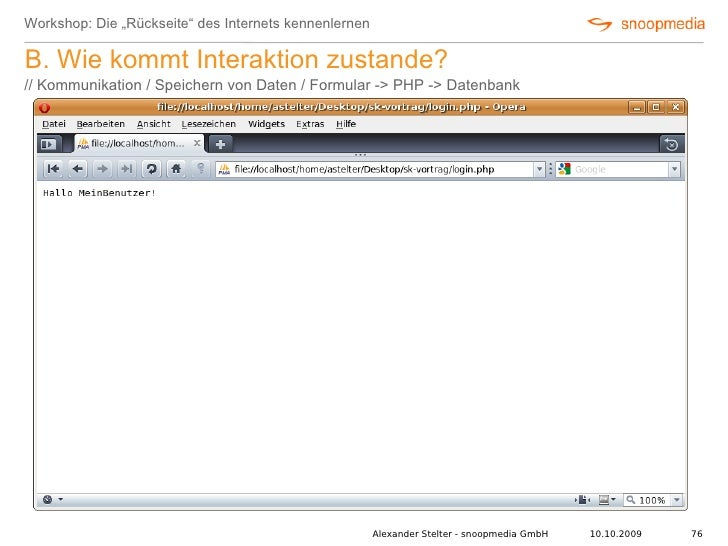 """Workshop: Die """"Rückseite"""" des Internets kennenlernen  B. Wie kommt Interaktion zustande? // Kommunikation / Speichern von ..."""