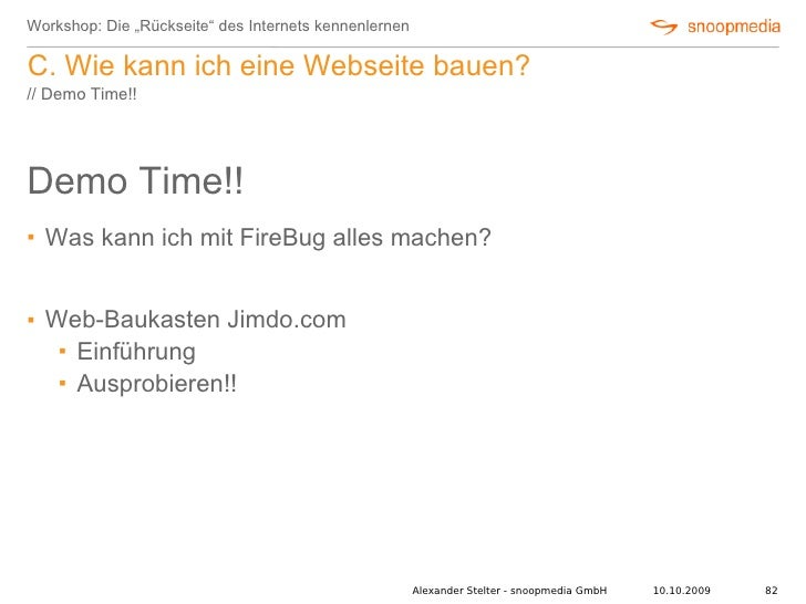 """Workshop: Die """"Rückseite"""" des Internets kennenlernen  C. Wie kann ich eine Webseite bauen? // Demo Time!!     Demo Time!! ..."""