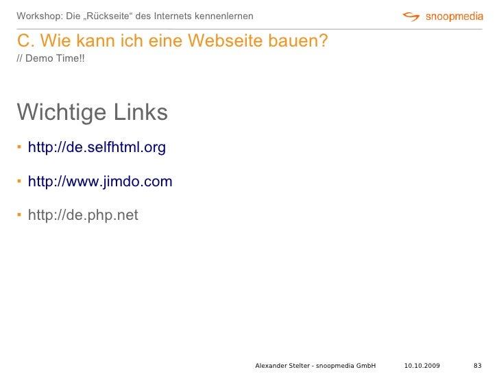 """Workshop: Die """"Rückseite"""" des Internets kennenlernen  C. Wie kann ich eine Webseite bauen? // Demo Time!!     Wichtige Lin..."""