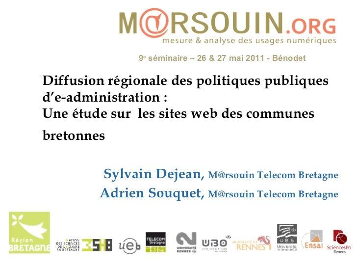 Diffusion régionale des politiques publiques d'e-administration:  Une étude sur  les sites web des communes bretonnes   S...