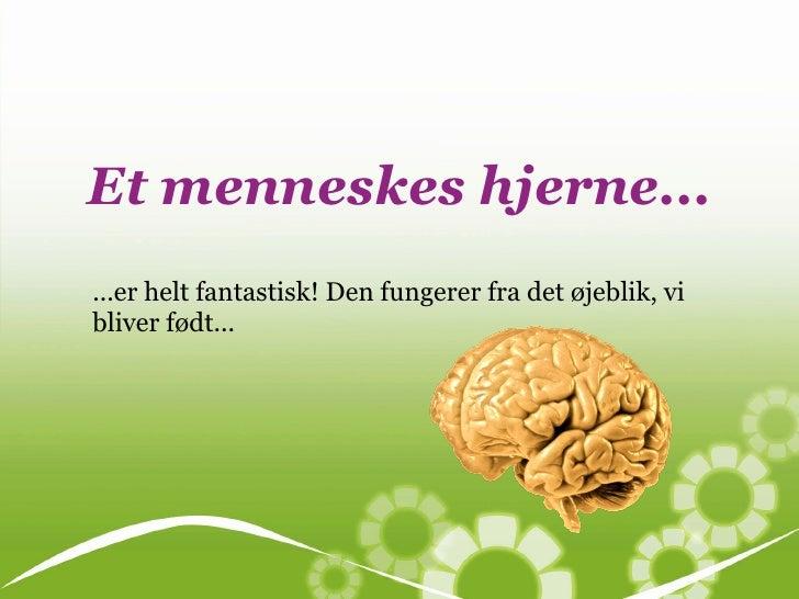 Et menneskes hjerne......er helt fantastisk! Den fungerer fra det øjeblik, vibliver født...