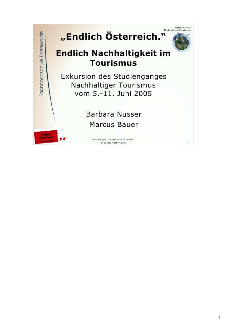 """Master of Arts                                                     Nachhaltiger Tourismus        """"Endlich Österreich.""""    ..."""