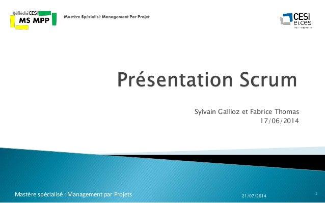Sylvain Gallioz et Fabrice Thomas 17/06/2014 21/07/2014 1Mastère spécialisé : Management par Projets