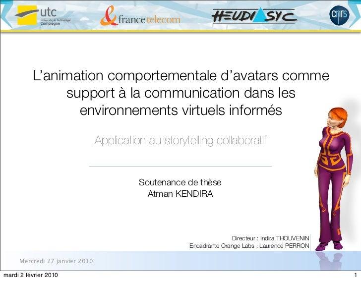 L'animation comportementale d'avatars comme               support à la communication dans les                 environnemen...