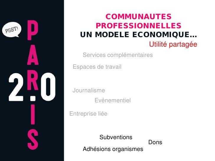 COMMUNAUTES        PROFESSIONNELLES     UN MODELE ECONOMIQUE…                  Utilité partagée      Services complémentai...