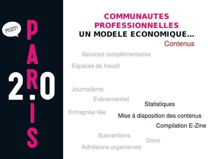 COMMUNAUTES        PROFESSIONNELLES     UN MODELE ECONOMIQUE…                     Contenus      Services complémentaires  ...