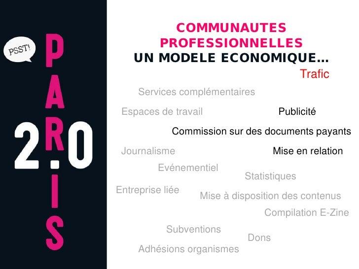 COMMUNAUTES        PROFESSIONNELLES     UN MODELE ECONOMIQUE…                        Trafic      Services complémentaires ...