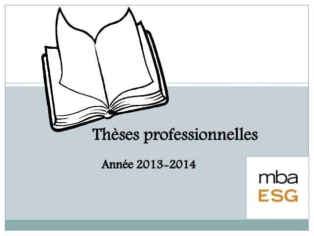 Thèses professionnelles Année 2013-2014