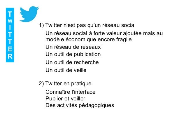 T W I T T E R 1) Twitter n'est pas qu'un réseau social 2) Twitter en pratique Un outil de publication Un outil de recherch...