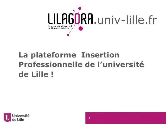 1 La plateforme Insertion Professionnelle de l'université de Lille ! .univ-lille.fr