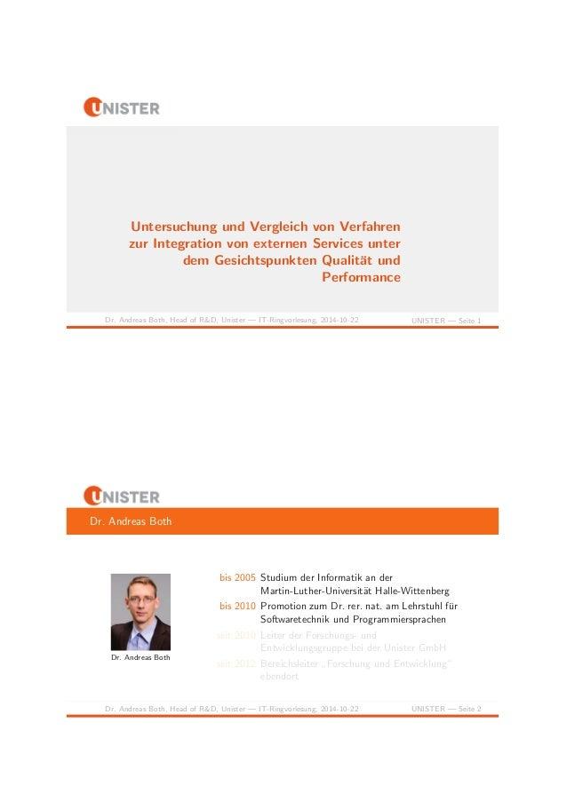 Untersuchung und Vergleich von Verfahren  zur Integration von externen Services unter  dem Gesichtspunkten Qualit¨at und  ...