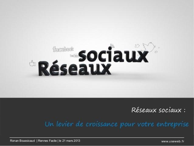 Réseaux sociaux:                        Un levier de croissance pour votre entrepriseRonan Boussicaud | Rennes Facile | l...