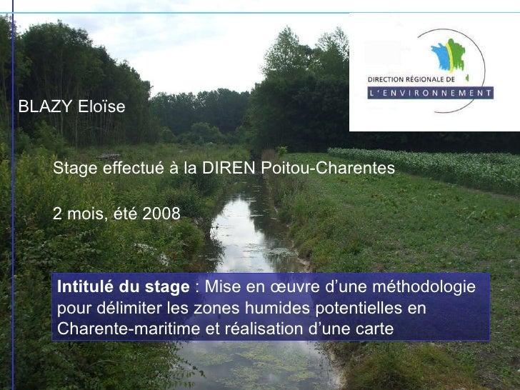BLAZY Eloïse Stage effectué à la DIREN Poitou-Charentes 2 mois, été 2008 Intitulé du stage  : Mise en œuvre d'une méthodol...