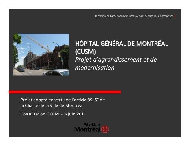 Directiondel'aménagementurbainetdesservicesauxentreprises│                             HÔPITALGÉNÉRALDEMONTRÉ...