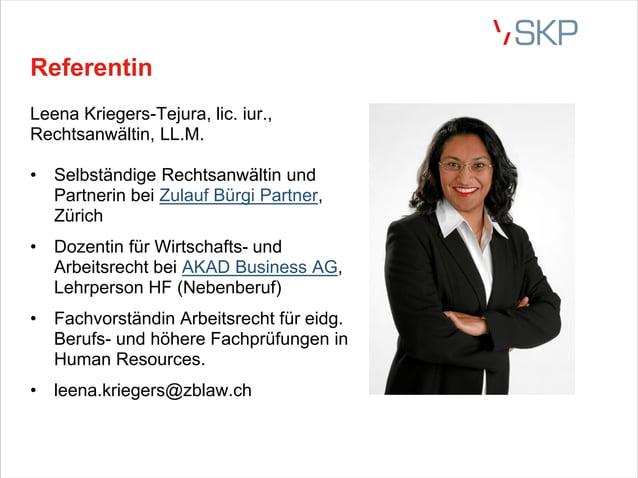 Referentin Leena Kriegers-Tejura, lic. iur., Rechtsanwältin, LL.M. • Selbständige Rechtsanwältin und Partnerin bei Zulauf ...