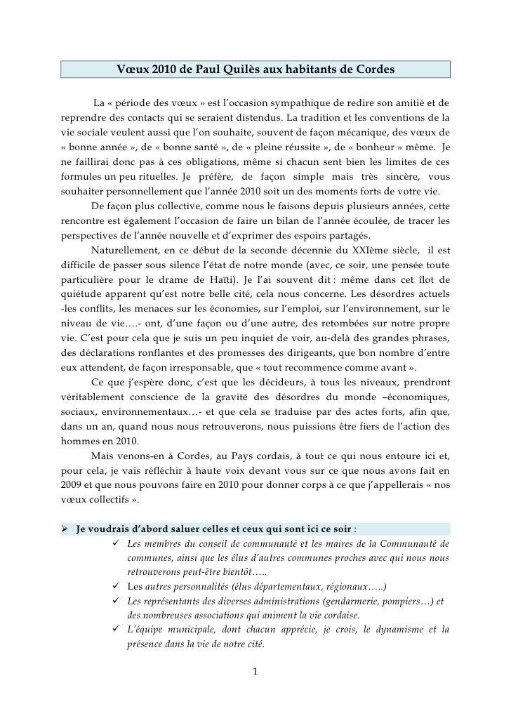 Vœux 2010 de Paul Quilès aux habitants de Cordes           La « période des vœux » est l'occasion sympathique de redire so...